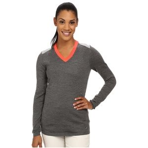 Nike GOLF grey coral color-block v-neck sweater S